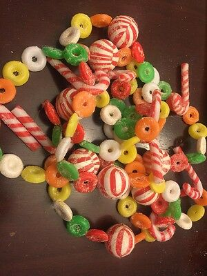 Vintage Plastic Christmas Blow Mold Candy Cane and Life Saver Garland 8.5'