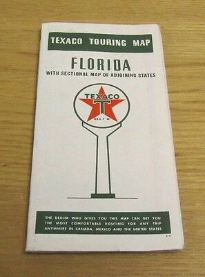 1941 Texaco Gasoline Florida Touring Road Map Vintage Travel Souvenir 21x28