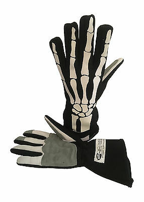 Medium SFI Race Gloves, Skeleton Design, Fire Resistant  NOMEX