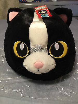 New wth tag, Big Fat Head black kitty cat Kawaii plush mask