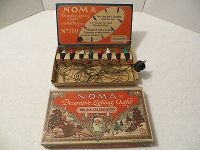 Vintage NOMA Mazda CHRISTMAS LIGHT SET; C-6; Wood Beads; ORIGINAL BOX; Working!