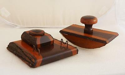 Australian Mulga Wood Desk Set With Inkwell Pen Stand and Blotter Vintage Items
