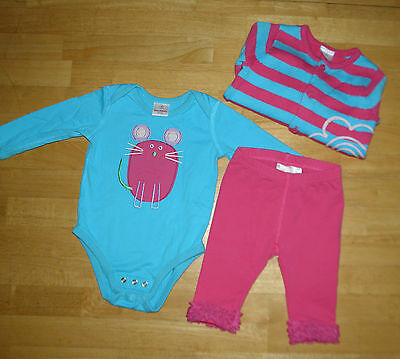 Hanna Andersson Striped Sweater Mouse Top Tulle Leggings Girls Size 70 Fall