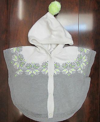 Gymboree Girl's 5T Cozy Ski Lodge White Gray Sweater Poncho Cape Hooded Nordic