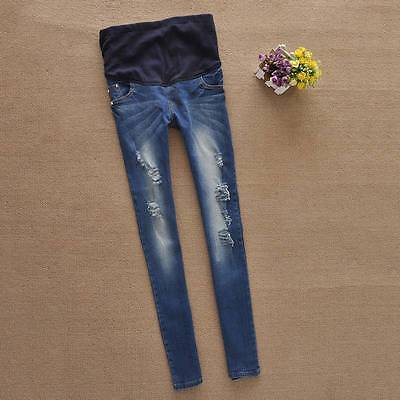 New Pregnant Womens Jeans Fashion Maternity Ripped Over Bump Denim Pencil Pants