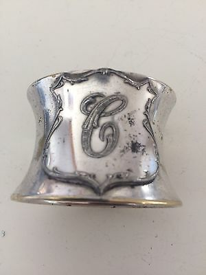 "Antique Silver Plate Napkin Ring ""C"" Kronheimer New York"