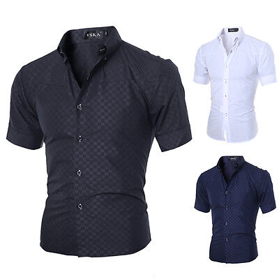Muscle Mens Luxury Casual Stylish Slim Fit Short Sleeve Casual Dress Shirts Tops