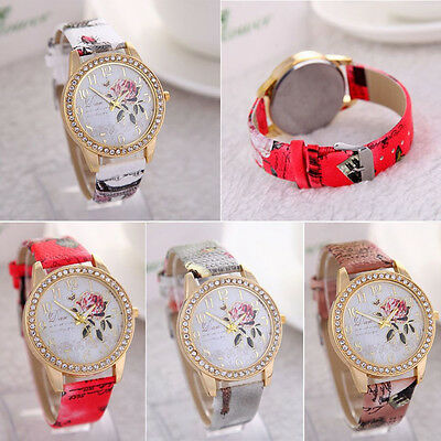Stylish Ladies Girls Rose Flower Leather Strap Watch Quartz Wrist Watches Younth