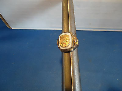 Military WWII Airborne parachute army ring Gold / Sterling  / mother of pearl