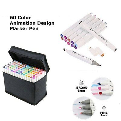 60 Colour Set Marker Pen Touch New Graphics Art Five Sketch Twin Tips Free Glove