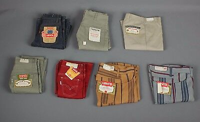 Vtg Lot of 7 60s Boy's NOS Jeans & Pants Levis Big E Turson 1960s #2897