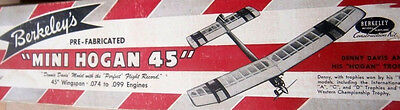 Vintage MINI HOGAN 45 Davis' 1/2A Berkeley Nostalgia Era Model Airplane PLAN