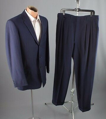 Vtg 50s Men's Blue Wool Suit Jacket sz L Pants 35x31 1950s #2497 3 Button