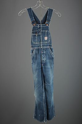 Vtg Boys 40s 50s Big Mac JC Penneys Denim Overalls sz 10-12 1940s 1950s #2928