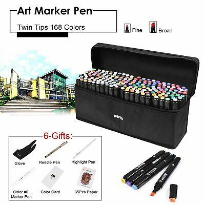 AU Set of 168 Colour Marker Pen Twin Tip Touch New Graphic Art Sketch Broad Fine