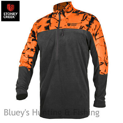 Stoney Creek Micro+ fleece mens L/s Blaze/black hunting zip shirt; 1643