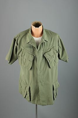 Vtg Men's 1968 Dated Vietnam War US Army Short Sleeve Tropical Shirt sz L #2771