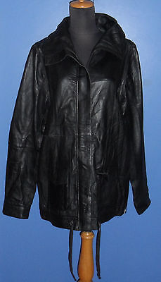 (NWT) ONE TEASPOON Bad Ass Black Genuine Softest Leather Duffle Coat (Size L)