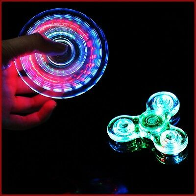 Clear Tri Fidget LED Hand Spinner Hot Focus Stress Desk Gyro Toy EDC Finger Spin