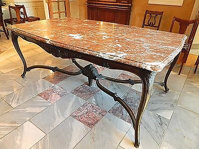 Antique Pink Red Marble Top Wood Dining Room Table French Style Furniture