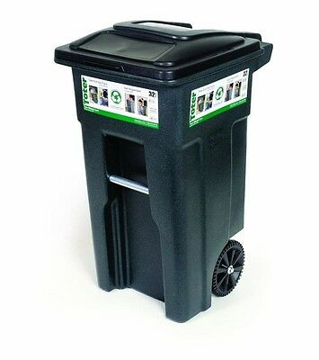 Outdoor Garbage Can Trash Bin 32 Gallon Wheeled Heavy Duty Waste Container Lid