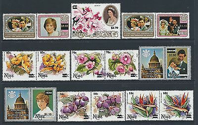1983 Niue Overprints Royalty/flowers Complete Set Of 13 Fine Mint Muh/mnh