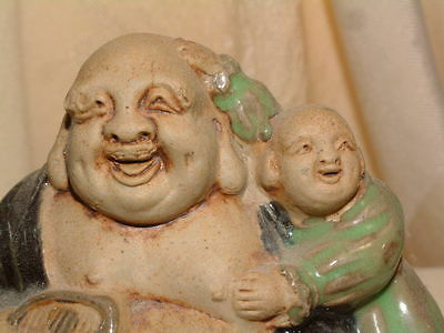 Vintage Japanese Laughing Buddha with Child Ceramic Statue