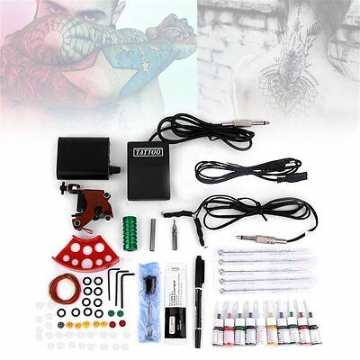Tattoo Kits Gun Machine Power Pedal 10 Color Ink Sets Needle Gripping Tip UK
