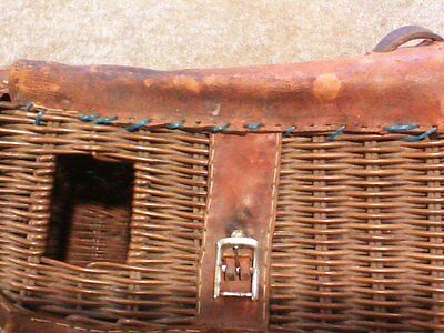 Vintage Wicker Leather Fishing Trout Basket Rustic, ANTIQUE