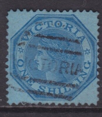 Victoria 1865 1/- Qv Blue On Blue Paper Vf Used Sg 113  (Df7)