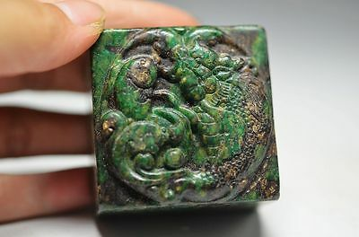 Collectible Chinese old jade Hand Carved Dragon fish jade seal h06