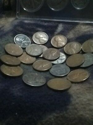 lot of 25 US coins 1920-1958(3silver,1-1943p nickel 6-1943 zinc pennies,16-1¢mix