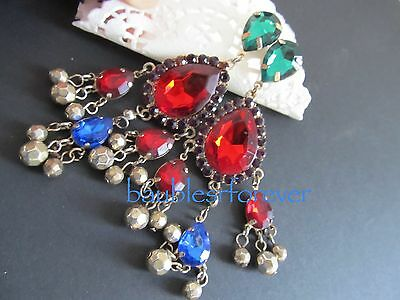 VtG 80's XL Long Pierced Earrings Dangling Colorful Acrylic Stone Blue Red Green
