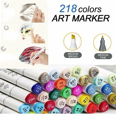 Twin Tips  Markers Pen 218 Colour Set Alcohol Graphic Sketch Art Drawing Point
