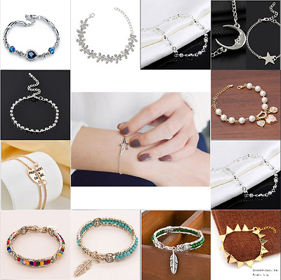 Fashion Women Ladies Crystal Rhinestone Gold/Silver Plated Bangle Cuff Bracelet