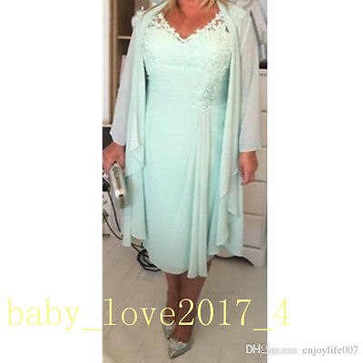 Mint Free Jacket Chiffon Mother of Bride Suit Knee Length Wedding Outfit Dress