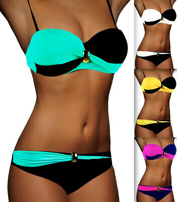 DAMEN BANDEAU BIKINI PUSH UP SET TOP HOSE AUSWAHL FARBEN PUSHUP Gr. XS S M L NEU