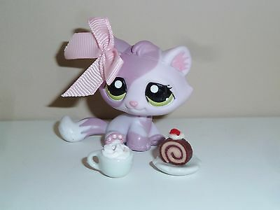 Littlest Pet Shop # 1660 chat chaton violet + accessoires Petshop Hasbro