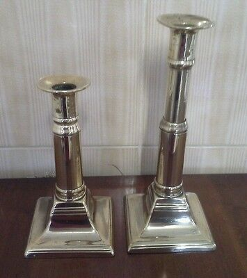 """Circa 1700 Pair Brass Telescopic Candlesticks F&Co Crown Stamped Patent 10"""" tall"""