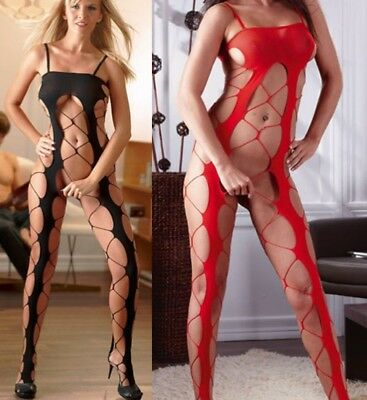 Cottelli Mandy Mystery Black Or Red Lingerie Erotic Netted Body Stocking Catsuit