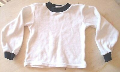 VINTAGE  C  &  A  WHITE/NAVY  VELOUR  BABY TOP 18-24 MONTHS  1990's