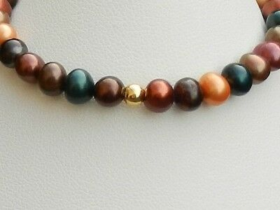 Handmade multi-coloured pearl and 925 sterling silver stretchy bracelet