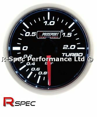Prosport 52mm Smoked Super White Turbo Boost Gauge - BAR - Stepper Motor Version