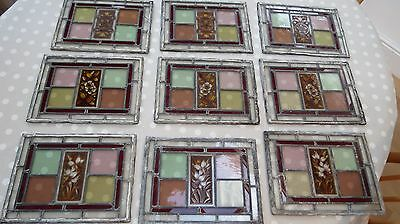 Set of 9 antique stained glass windows