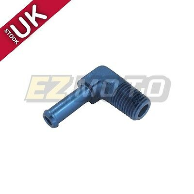 "UK STOCK! Fuel Fitting Adapter 90 Degree Pipe To Barb 10AN Male to 1/2"" NPT Blue"