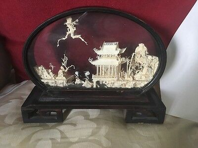Old Carved Chinese Diorama In Shaped Lacquered Case Herons,Trees,Pagodas