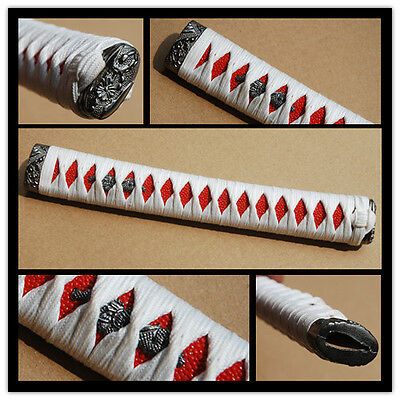 White Synthetic Silk ITO Tsuka for Japanese Samurai Katana Full Tang Sword
