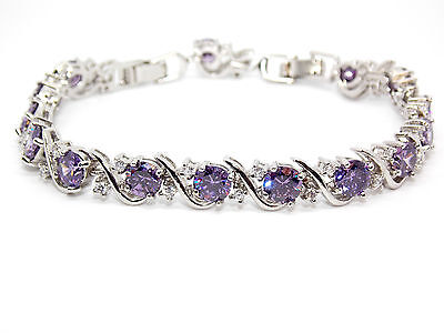 Silver Amethyst And White Topaz 16ct Bracelet (925)
