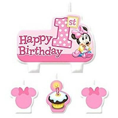 DISNEY MINNIE MOUSE 1st GIRLS BIRTHDAY CANDLE SET 4 PIECE PARTY SUPPLIES