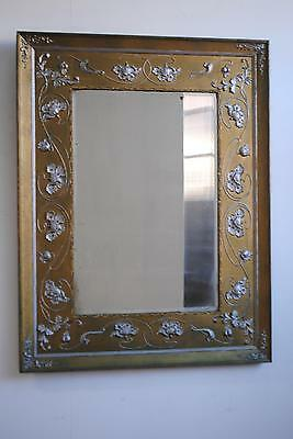 Antique Aesthetic Movement Art Nouveau Gilt & Silver Gesso Mirror
